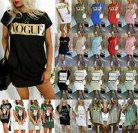 Women's Slogan Printed Short Sleeve Oversized Lagenlook Long T-Shirt Dress Tops