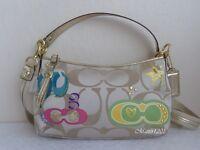 Coach NWT F17589 Signature Applique Demi Crossbody Bag Light Khaki/Multicolor