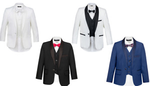 SUIT LAB - Boys Formal White Black Blue Tuxedo | 3 Piece | Christening Wedding
