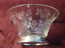 """Sterling Amston sterling rim BOWL WITH BUTTERFLIES  FLORAL PATTERN 5 5/8"""" 3 3/8"""""""