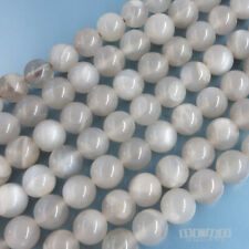 "15.7"" Genuine Light Grey Moonstone Round Beads ap. 6mm w/Silvery Flash #19481"
