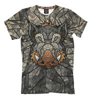 Boar t-shirt wild pig print all over printed pattern tee nice color mad muzzle