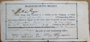 Massachusetts Militia 1830 Military 'Order to Appear'
