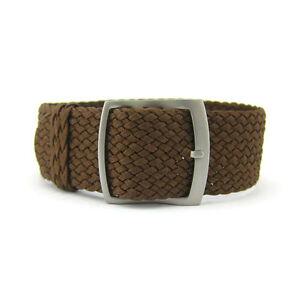 22mm Premium Brown Braided Nylon Perlon Watch Strap (Steel Buckle)