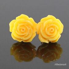Damen gelb  Harz Blumen Ohrring/ Ohrstecker 14,5mm Edelstahl  Modeschmuck