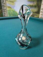 "Kristalunie Maastricht Glass Vase signed Max Verboeket Design 1950s, 7"""