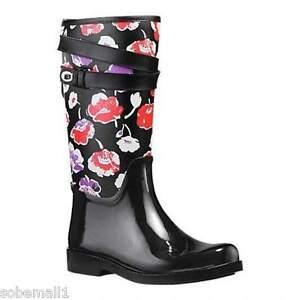 Coach Traisha II Black Floral Print Leather Trim Rain Boots Q8010 Size 7