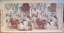 Stereoview THE QUILTING BEE Children Dolls Color Comic Genre Views TW Ingersoll