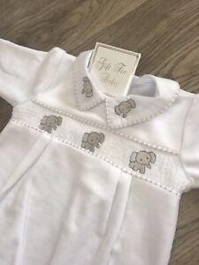 White Baby Girl Boy Unisex Spanish Babygrow 0-3 Months New Born NB Elephant