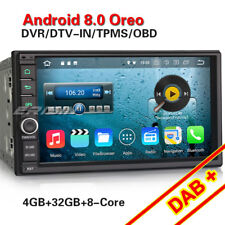 Android 8.0 Universal Double 2DIN Car Stereo Sat Nav DAB+ DVR OBD WiFi 4G DTV-IN