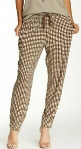 HUE U15456 Brown/Beige Geo Chill Chic Relaxed Rayon Jersey Skimmer Leggings
