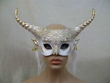 White Gold Horned Goddess Mask Goat Woodland Creature Faun Mystical Forest Fairy