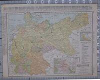1906 Landkarte Preußen Sachsen Berlin Mecklenburg Hessen Baden Würtemberg Bayern