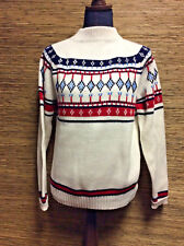 Vintage Montgomery Ward Acrylic White Blue Red Nordic Sweater SMALL Ski Sweater