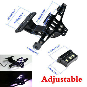 Motorcycle Scooter ATV License Plate Holder Tail Light Bracket Aluminum