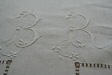 long drap ancien ,PUR fil deLIN  n°316 ,monogramme BR, 350x225cm ,découverte