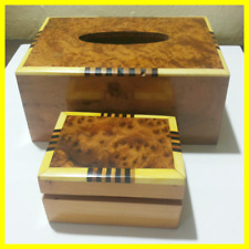 Vintage Wooden Tissue Box Handmade Moroccan wood jewelry Covers Wood Paper