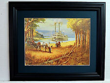 RIVER BOAT PICTURE STEAM BOAT HORSE WAGON MATTED FRAMED 11X14