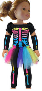 """Neon Skeleton Costume Halloween For 14.5"""" WELLIE WISHERS Doll Clothes"""