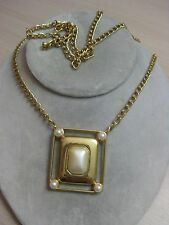 """Estate Costume Crown Trifari Pearl Pendant with Link Necklace 30"""" Modern"""