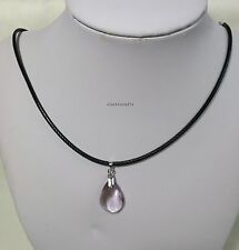 Genuine Silver purple crystal pedant+BLK WAX necklace L40/45cm