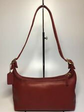 Vintage COACH 9059 Legacy Red Leather Brass Hardware Shoulder Hobo Handbag ~ EUC
