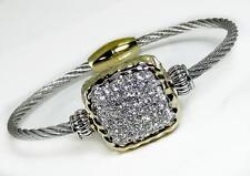 Crystal Magnetic Bangle Bracelet Cable Silver Gold  2 Tone Wire Designer