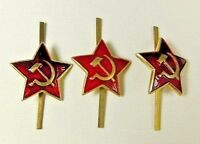 3 x Original Soviet Russian Army Uniform Military Red Star Cap Hat Badges * USSR