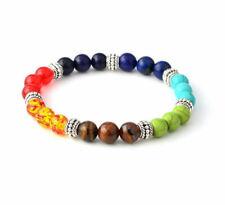 7 Chakra Healing Balance Beaded Lava Bracelet Natural Stone Yoga Reiki Prayer @b