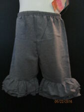 New Girls Denim Color Ruffle Capri'S Size 6 Cotton Lycra Blend Ruffle Butts