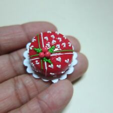 Christmas RED Cake Dollhouse Miniature Food Bakery Holiday Xmas 11