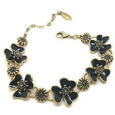 Lovely Pilgrim Black Enamel Swarovski Crystal Flower Bracelet