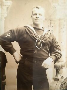 CC GAY int BIG BLOND Smiling SAILOR Southsea c1880/90 CABINET PHOTO 9/10