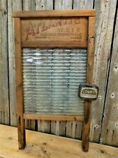 Antique Primitive Laundry Washboard w/ Wire Caged Soap Saver Lot