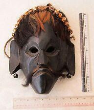 SCARY! Old Tharu Bodhi Tree Wood & Yak Hair Revese Shaman Exorcism Mask XL