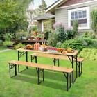 3 Pieces Wood Folding Camping Table Beer Dinning Desk Bench Set for Family Party