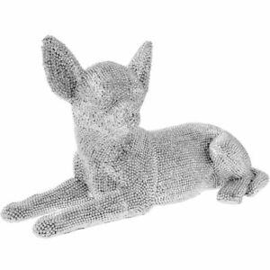 Leonardo Silver Art Chihuahua Lying Dog Pet Ornament Sparkling Silver Diamante