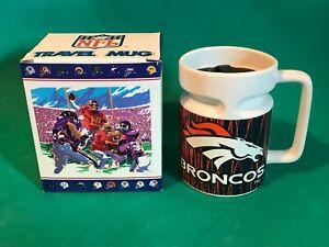 NEW Vintage Denver Broncos NFL Travel Porcelain Beer Coffee Mug Cup 1998