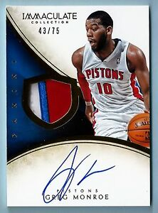 GREG MONROE 2013/14 PANINI IMMACULATE 3 COLOR PATCH AUTOGRAPH AUTO /75