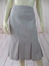 Searle Skirt 10 Light Gray Heather Fine Wool Gabardine Stretch Pleated Pencil