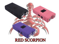 Red Scorpion Mini Police Stun Gun 800 - 30 Billion Volts Rechargeable Flashlight