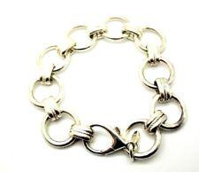 "925 Sterling Silver Milor Italy Circle Flat Bead Bracelet 8"""