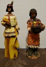 Native American Couple Fall Harvest Autumn Thanksgiving Figurines, male 10 in,