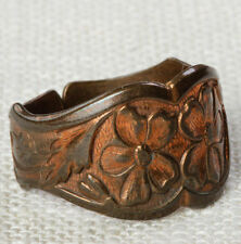 Vintage Copper Ring Adjustable Band Floral Etched Pattern Womens 16R