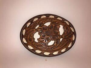 Nocona Women's Brown Leather Floral Belt Buckle