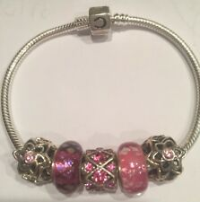 Authentic Chamilla Bracelet 7.5 Or 7.9 With 5 Chamilia  Swarovski/Murano Beads