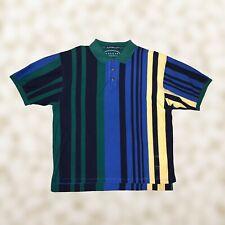 Vintage 90s Haggar Men's Multi Color Striped Colorblock Polo Shirt Sz Xl
