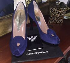 Like New EMPORIO ARMANI Blue Suede Peep Toe Pumps Shoes XEDL01 XQ559 151 EU 38.5