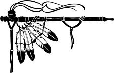 peace pipe feather smoke indian bead leather  VINYL DECAL STICKER 758