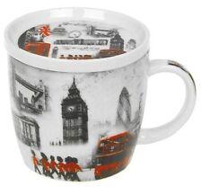 London Iconic Design Mug & Coaster Lid Big Ben Bus Bridge Eye Gift Boxed Present